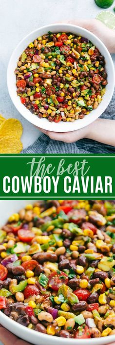 The ultimate BEST EVER Cowboy Caviar with a few secret ingredients! A super easy and quick appetizer, salad, or side dish! via chelseasmessyapron.com #cowboy #caviar #dip #salsa #easy #quick #familyfriendly #avocado #blackeye #peas #black #beaks #tomato #cilantro #corn #mexican #appetizer #salad #potluck