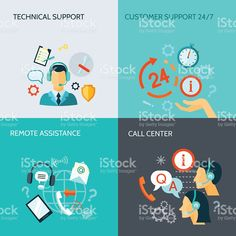 Remote Assistance And Technical Support Banners royalty-free stock vector art