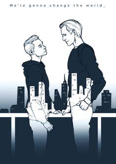 <Elliot Alderson and Tyrell Wellick fan art>