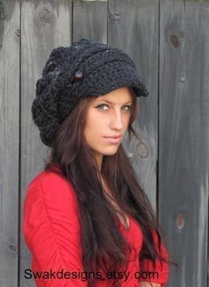 Newsboy Hat Wool Tam Slouchy Hat Two Button Band by SWAKCouture, $48.00