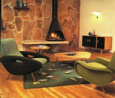 Midcentury modern green living room.