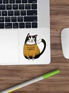 The future is feline - Cat in Statement Shirt Funny sticker for catlovers and feminists Funny Stickers, Sticker Design, Finding Yourself, Future, Cats, Shirt, Prints, Future Tense, Gatos