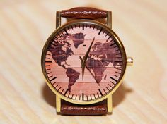 Wristwatches world map world map watch wooden by RedMadagaskar Unique Watches, Watches For Men, Women's Watches, Map Watch, Unique Clocks, Wooden Clock, Artificial Leather, The Ordinary, Wristwatches
