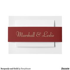 Burgundy and Gold Invitation Belly Band