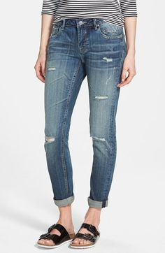 Free shipping and returns on Vigoss 'Tomboy' Destroyed Skinny Jeans (Medium Wash) at Nordstrom.com. Threadbare holes rough up the faded, medium-blue denim of cool, casual skinny jeans.