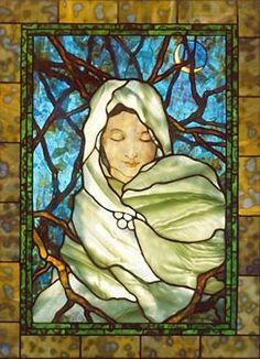 Beautiful woman stained-glass-mosaic