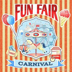 Illustration about Vintage carnival fun fair theme park poster template vector illustration. Illustration of banner, cream, illustration - 40411356 Carnaval Vintage, Vintage Carnival, Vintage Theme, Vintage Posters, Carnival Posters, Carnival Themes, Fair Theme, Summer Fair, Funny Images