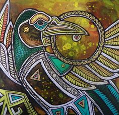 bird stealing the sun painting Lynnette Shelley CONTEMPORARY ANIMAL ART AND MODERN MYTH PAINTINGS