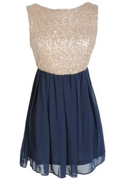 Sequin and Chiffon Babydoll Dress in Navy