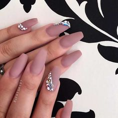 Matte Neutral Coffin Nails with Rhinestones