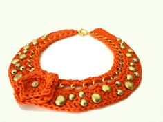 Orange Chain Crocheted Studded Bib Necklace by ChichiKnots on Etsy, $35.00