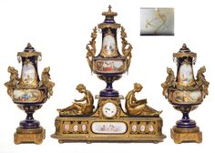 19th century Sevres bronze garniture clock set. Fine Antiques, Decorative Arts & Estate Jewelry - September 15, 2012