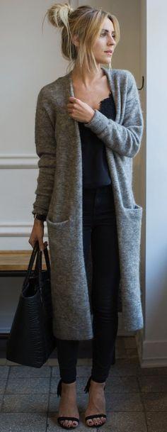 #fall #style #looks Grey + Black