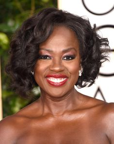 Viola Davis Short Curls  Viola Davis looked sassy with her high-volume curls at the Golden Globes.