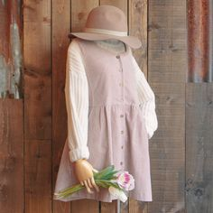 Button down corduroy dress, brixton Dalila hat and ribbed neck jumper online and in store now   www.oliveclothing.com