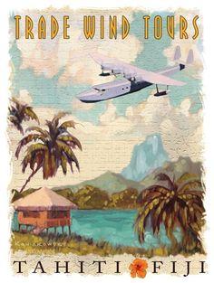 Trade Wind Tours Metal Sign on Rustic Barn Wood Frame Tahiti Fiji travel aero