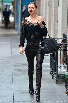 Leather pants aren't just for bikers and rock stars anymore. We're taking a page from Miranda Kerr's effortless style book, and adopting this sleek look for winter. Skip the jeans this season and pair leather pants with a simple top and ankle boots for an off-duty look—or take it into evening with a tux jacket and strappy sandals. Click through for our picks of the best pants (faux and real) of the season.