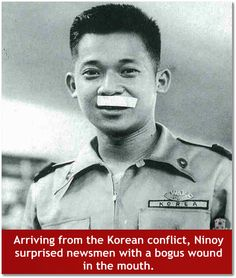 Ninoy Aquino with bogus wound in mouth