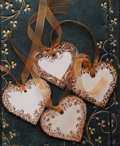 Wooden pyrographed tags by Tricia Newell, via Flickr -I need some wooden hearts!