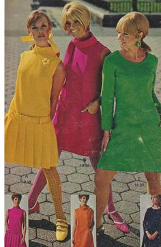 Sixties brights 60s fashion style shift dress yellow pleats pink green color photo print ad