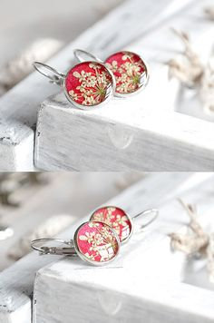 Ruby red earrings Gift for her Botanical jewelry Anne lace flower earrings Mothers day gift Daughter Women Dry flowers Bright red earrings
