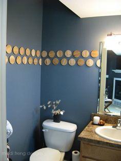 Wood Slice Bathroom Wall Décor - 40 Rustic Home Decor Ideas You Can Build Yourself