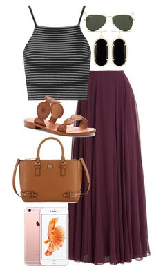 """Maroon Maxi"" by isabella813 ❤ liked on Polyvore featuring Halston Heritage, Topshop, Kendra Scott, Jack Rogers, Tory Burch and Ray-Ban"