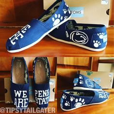 competitive price 71c87 b9725 Painted Penn State Nittany Lions TOMS Shoes created by the Tipsy Tailgater.  Fun for tailgates to show off team spirit!