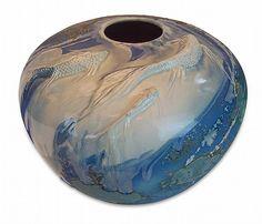 Lot 2337: Evans Ceramics Koi Art Pottery Vase - J Levine Auction & Appraisal LLC | AuctionZip