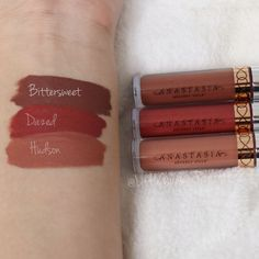 Feb 2018 - Lip Swatches of the Anastasia Beverly Hills Mini Liquid Lipstick Trio. This gorgeous set was launched during the 2017 Holiday season and features 3 stunning colors. Anastasia Liquid Lipstick Swatches, Liquid Lipstick Set, Lipstick For Fair Skin, Lipstick Dupes, Pink Lipsticks, Makeup Swatches, Lipstick Colors, Lip Colors, Anastasia Beverly Hills Lippenstift