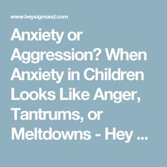 Anxiety or Aggression? When Anxiety in Children Looks Like Anger, Tantrums, or Meltdowns - Hey Sigmund - Karen Young