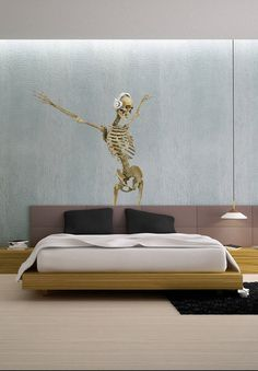 3D Skeleton DJ Render Dance Music  Full Color Wall by uBerDecals