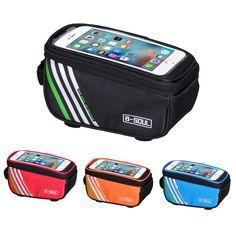 รววทดทสดของ Waterproof Touch Screen Bicycle Bags Cycling MTB Mountain Bike Frame Front Tube Storage Bag for 5.0 inch Mobile Phone 4 Colors