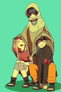 Team 7, Naruto, Sakura, Sasuke, funny, cloak, cute; Naruto