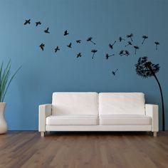 Wandtattoo  -  Pusteblume mit Vögel