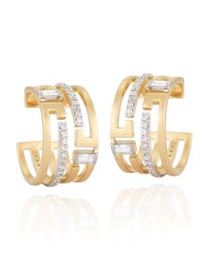 Ivanka Trump fine jewelry was designed for the woman whose style emboldens elegance and sophistication with spirit. These earrings express a refreshing take on tradition with brushed 18k gold detailed with decadent diamonds.