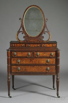 Federal Carved Mahogany and Birds-Eye Maple Veneer Dressing Chest with Mirror - Attributed to Thomas Seymour (Skinner, Inc) Furniture Styles, Fine Furniture, Unique Furniture, Home Decor Furniture, Furniture Making, Vintage Furniture, Painted Furniture, Furniture Design, Art Nouveau