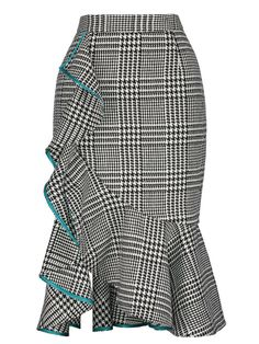 Asymmetrical High-Waist Falbala Plaid Print Womens Skirt We always strive to provide our customers with high quality products at a competitive price and catered to their explicit needs. Checkered Skirt, Houndstooth Skirt, Frilly Skirt, Ruffle Skirt, Skirt Midi, Waist Skirt, White Maxi Skirts, Plaid Skirts, Long Skirts