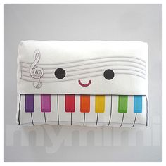 White Pillow Decorative Pillow Piano Pillow Music Pillow by mymimi