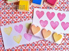 love hearts. hand carved rubber stamp. valentine stamp. wedding stamp. repeated pattern large - READY TO SHIP. $16,00, via Etsy.
