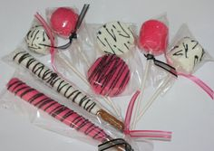 Hot pink & Zebra cake pop pretzels marshmallow