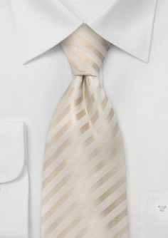 One of our most popular wedding ties is this ivory striped silk tie by designer Parsley. Also available in kids length, XL length, and matching pocket square.