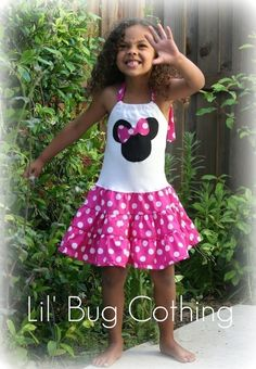 Custom Minnie Mouse Hot Pink and White Tiered by LilBugsClothing, $39.99