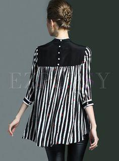 Stylish loose stand collar stripe patchwork blouse en 2019 b Kurta Designs, Blouse Designs, Pakistani Fashion Casual, Pakistani Dresses Casual, Frock Fashion, Fashion Dresses, Night Gown Dress, Hijab Stile, Mode Hijab