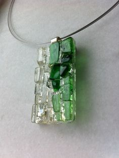 Modern mosaic glass on glass pendant by Albedomosaics on Etsy, $35.00