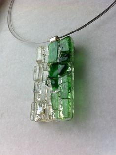 Modern mosaic glass on glass pendant by Albedomosaics on Etsy, $35.00