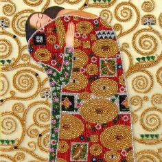 Klimt 'Embrace' painting for bead embroidery & spring prices for worldwide shipping