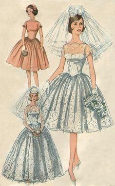 36 Trendy Wedding Dresses Vintage Sewing Patterns 36 Trendy Wedding Dresses Vintage Sewing P 50s Style Wedding Dress, Wedding Dresses Under 500, Diy Wedding Dress, Wedding Dress Patterns, Vintage Dress Patterns, Vintage Dresses, Vintage Outfits, Vintage Fashion, Sewing Patterns