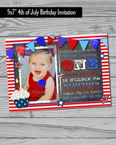 4th of July Birthday Party Invitation / fourth of July / Party supplies / favors / red white and blue / BBQ on Etsy, $12.00