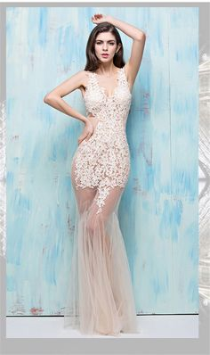 Mermaid V Neck Cutouts Open Back Sheer See Through Champagne Tulle Lace Prom…